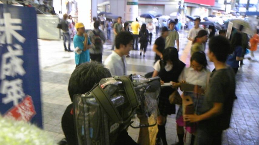 雨中の渋谷で模擬選挙